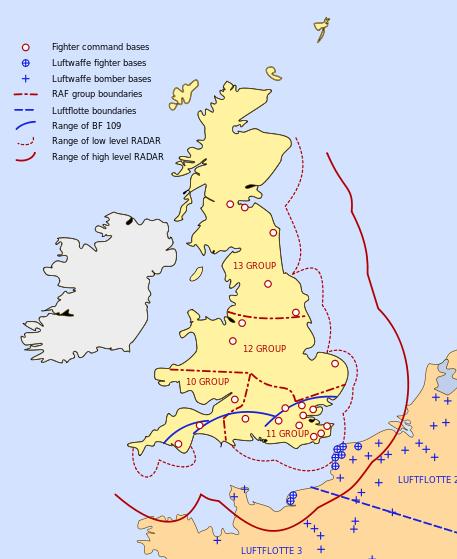 Схема размещения авиабаз противников и зона обнаружения целей радарами.