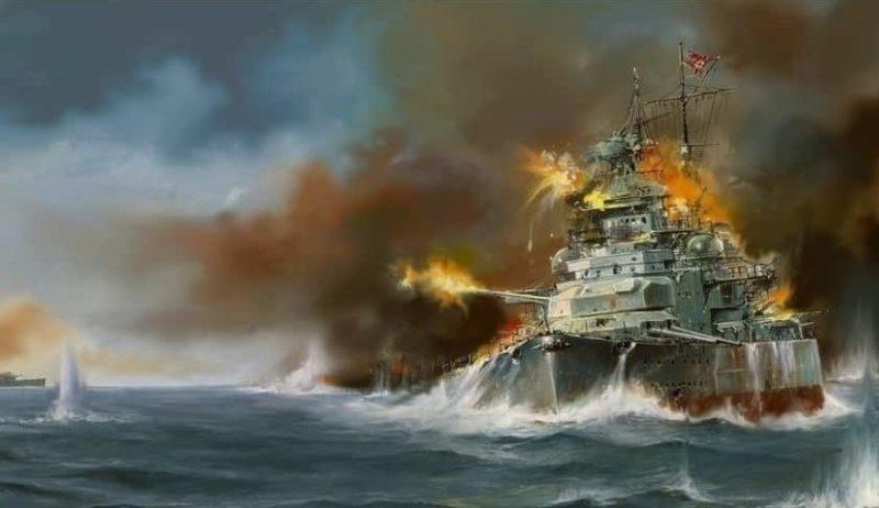 Бой «Бисмарка» с британскими линкорами.