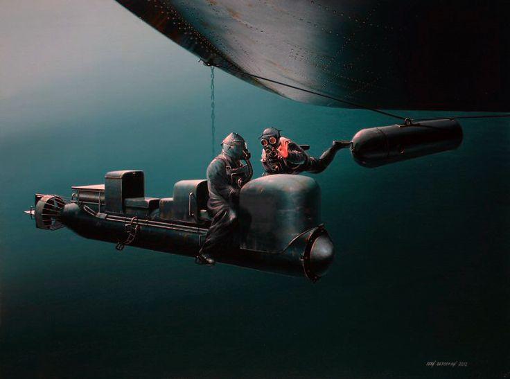 Подводные диверсанты глазами художников.