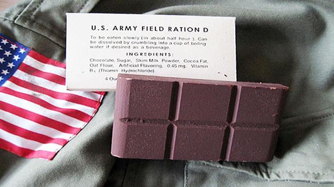 Американский «военный шоколад» из D-рациона.