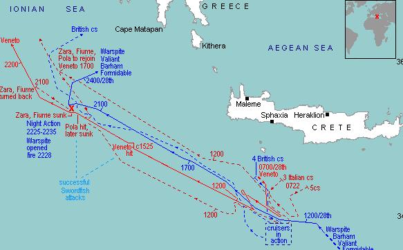 Карта-схема битвы у мыса Матапан, 28 марта 1941 г.