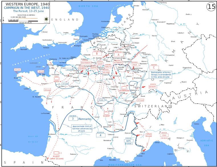 Продвижение немецких войск во Франции после 13 июня 1940 г.