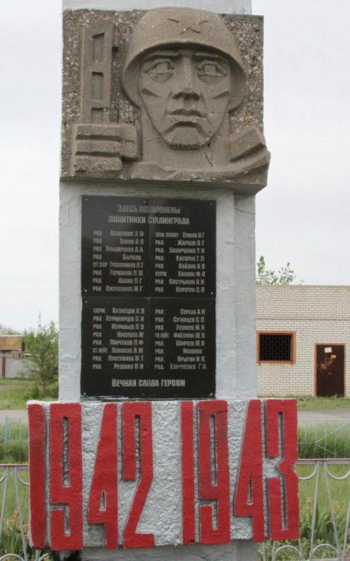с. Малые Чапурники Светлоярского р-на. Памятник, установленный на братской могиле, в которой похоронено 32 воина 62-й, 64-й, 57-й армий.
