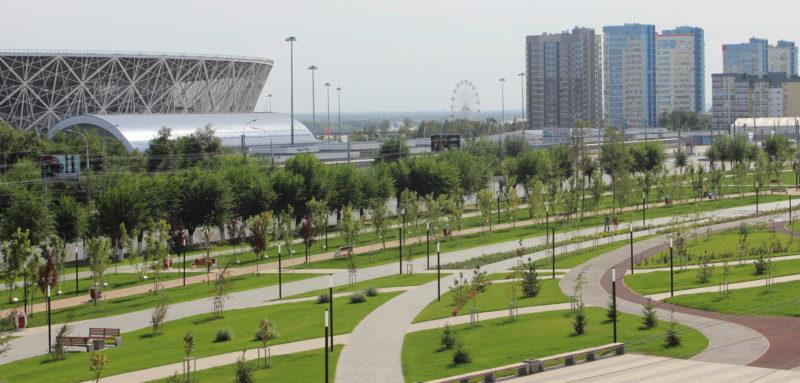 Мемориальный парк у подножия Мамаева кургана.