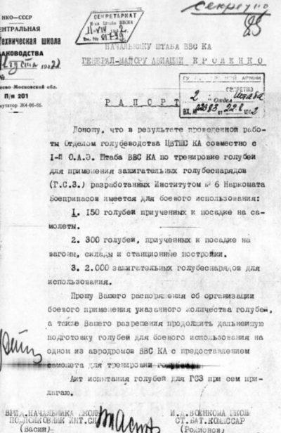 Рапорт о применении голубей-диверсантов.