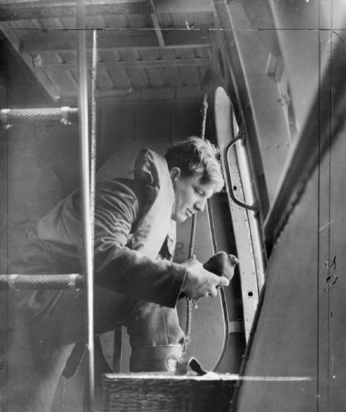 Сержант летного состава 209-й эскадрильи RAF выпускает голубя-курьера с бокового люка летающей лодки Saro Lerwick. 1944 г.