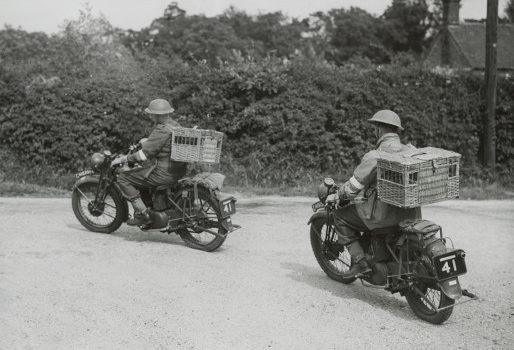 Мотоциклисты с клетками на доставке голубей в пункт связи.