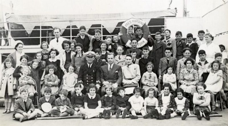 Эвакуированные еврейские дети из Европы на пути в Филадельфию. 1940 г.