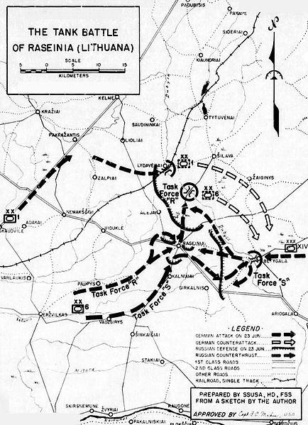 Карта-схема битвы у Расейняй.