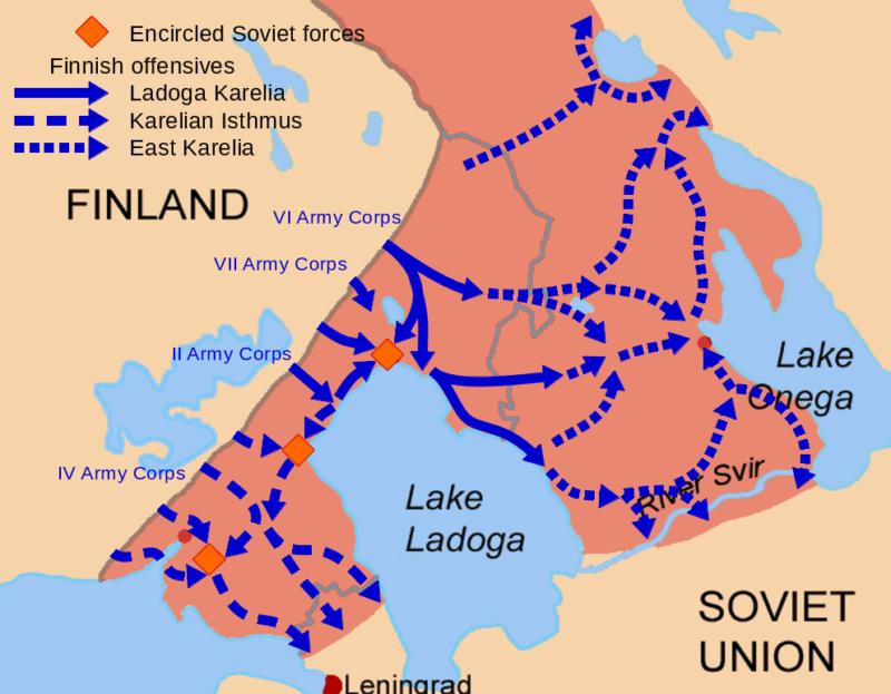 Карта наступательных операций Финляндии в Карелии, проведенных летом и осенью 1941 года.