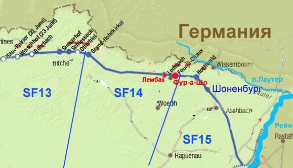 Карта секторов с опорными пунктами укрепрайона Лаутер.