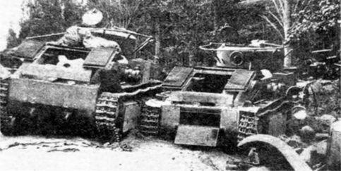 Поле боя после танкового сражения.