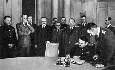 Подписание Соглашения о перемирии от 19 сентября 1944 года.