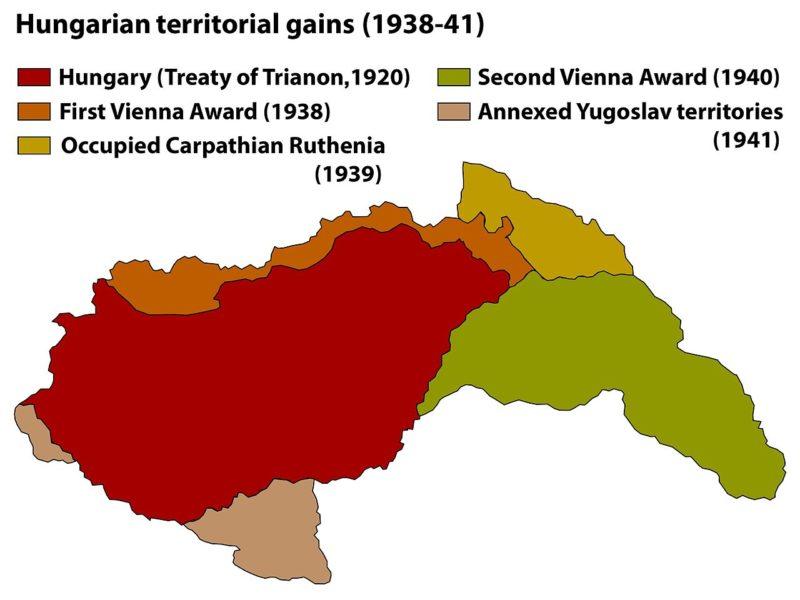 Территориальные приобретения в Венгрии в 1938-1941 годах.