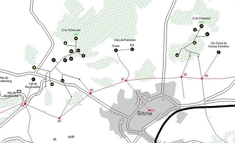 План размещения укреплений в районе города Bitche.