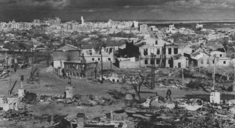 Панорама разрушенного Воронежа после захвата немецкими войсками. Июль 1942 г.