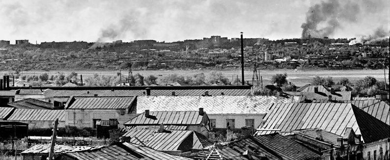 Панорама правобережной части Воронежа во время уличных боев. Июль 1942 г.