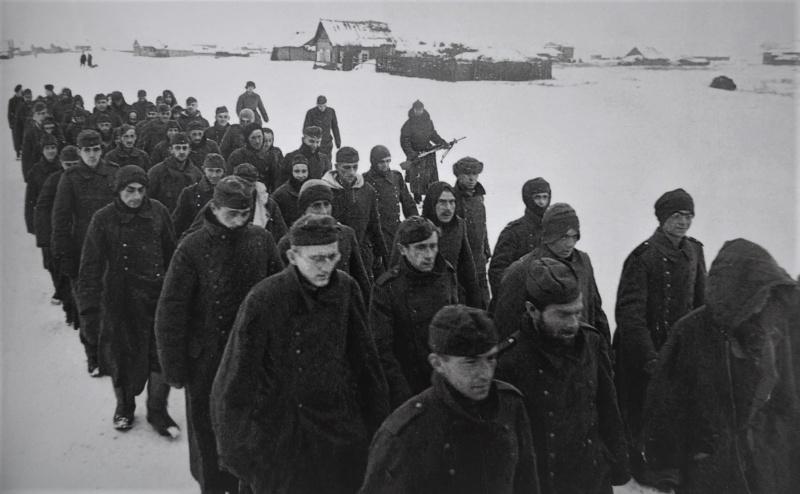 Немецкие военнопленные, конвоируемые по деревне под Сталинградом. 1943 г.