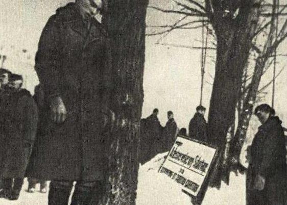 Тела повешенных советских патриотов. 15 января 1942 г.