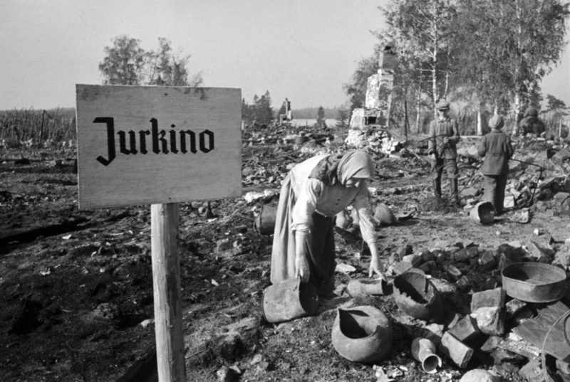 Остатки крестьянского подворья у Ржева. Август 1942 г.