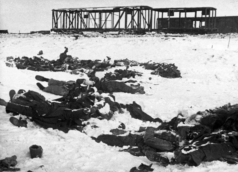 Тела немецких солдат у разбитых железнодорожных вагонов под Сталинградом. 1943 г.