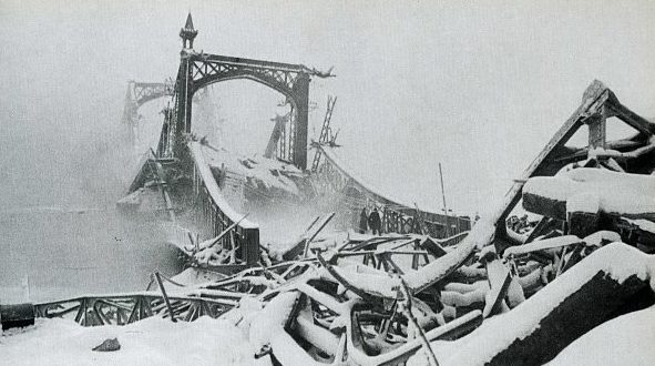 Вид моста через Волхов. Январь 1944 г.