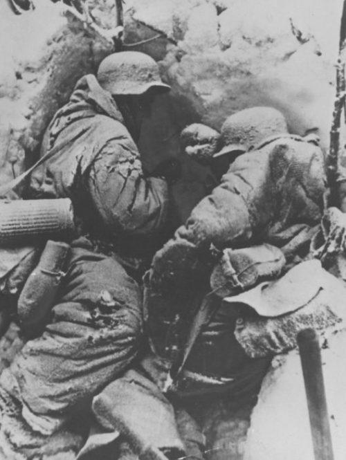 Тела немецких солдат на позиции в районе Сталинграда. 1943 г.
