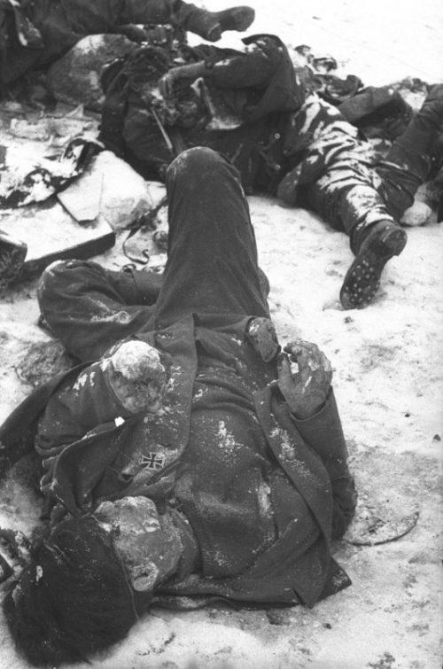 Советские солдаты проходят мимо трупов немецких солдат в Сталинграде. 1943 г.