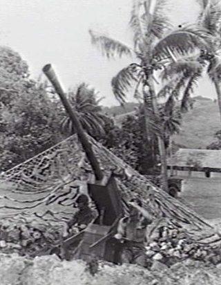 Имитация зенитной позиции на острове Гуденоу. 1943 г.