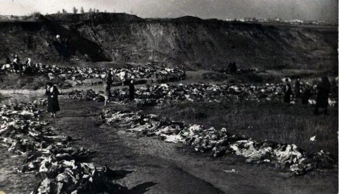 Эксгумация тел расстрелянных мирных жителей в Песчаном логу. Октябрь 1943 г.
