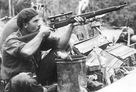 Солдаты выискивают японского снайпера. Декабрь 1944 г.