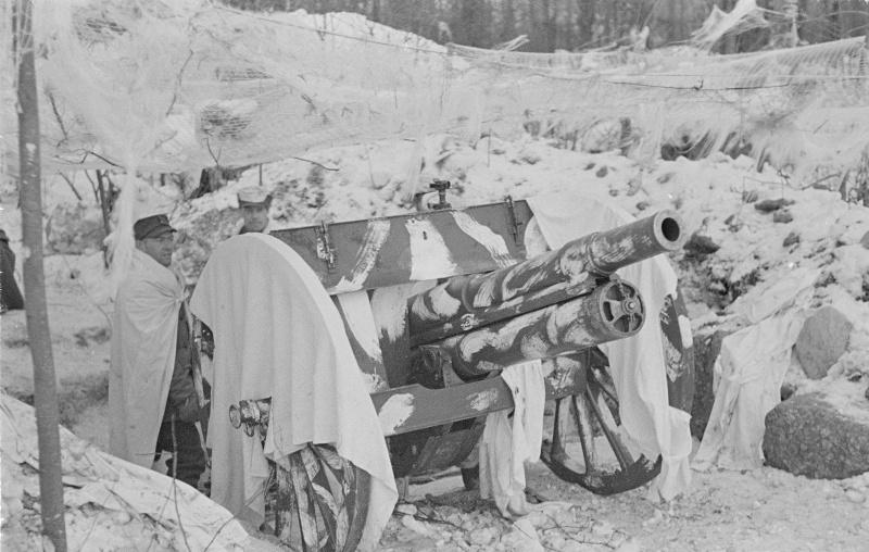 Финские артиллеристы на позиции в выборгском парке Монрепо.10 марта 1940 г.