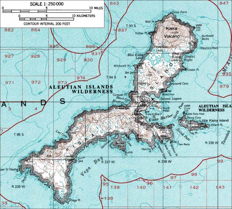 Алеутские острова и остров Кыска.