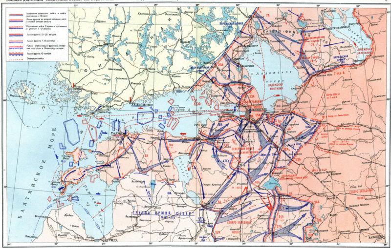 Карта боевых действий советских войск на подступах к Ленинграду 10 июля – 10 ноября 1941 года.