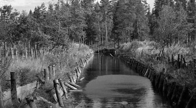 Противотанковые заграждения у города. Сентябрь 1941 г.
