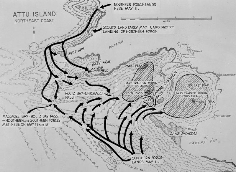 Схема действий американской армии на острове Атту. 11-30 мая 1943 г.
