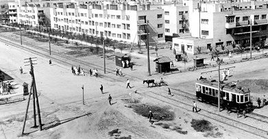 Перекресток улиц Ленина и Металлургов. 1940 г.