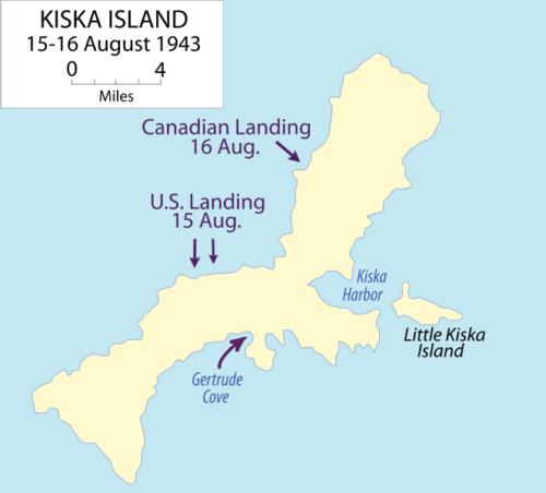 Схема вторжения союзников на Кыску.