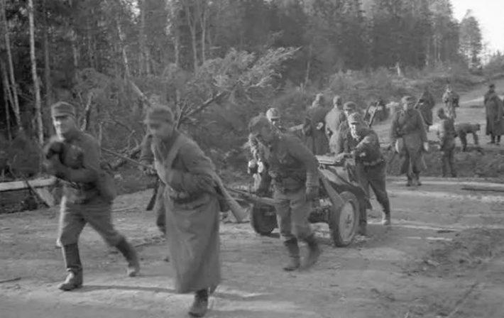 Финны занимают позиции у города. 1 октября 1941 г.