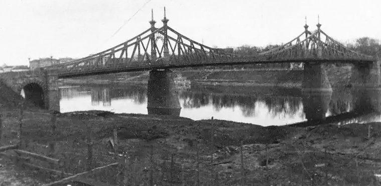 Старый Волжский мост, оставленный немцам целым. Октябрь 1941 г.