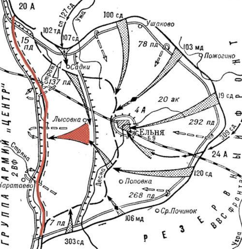 Карта схема Ельнинской операции. Положение фронта на 8 сентября 1941г.