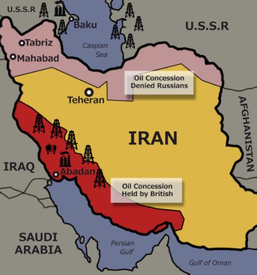 Зоны влияния СССР и Британии в Иране.