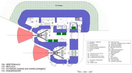 План артиллерийского каземата STG 36 с левосторонними амбразурами.