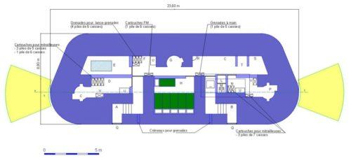 План каземата с двумя фланкирующими бронебашнями JM.