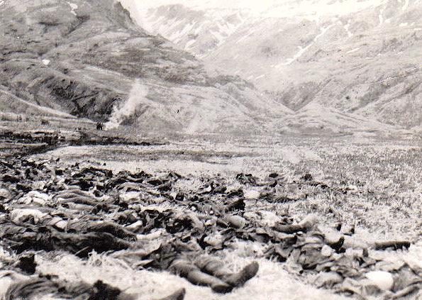 Убитые японские солдаты после атаки на американские позиции.