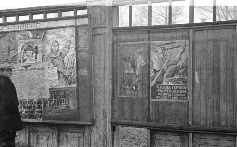 Местный житель у информационного стенда возле стадиона «Динамо». Приказы оккупационных властей наклеены на советские агитационные плакаты. Октябрь 1941 г.