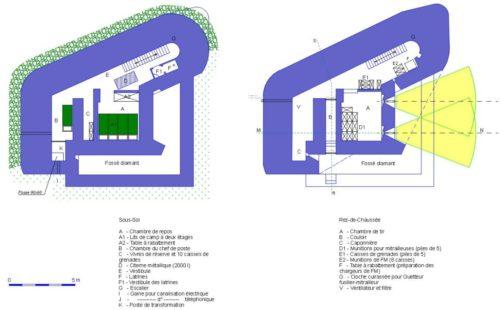 План двух этажей каземата CORF Mle 1930.