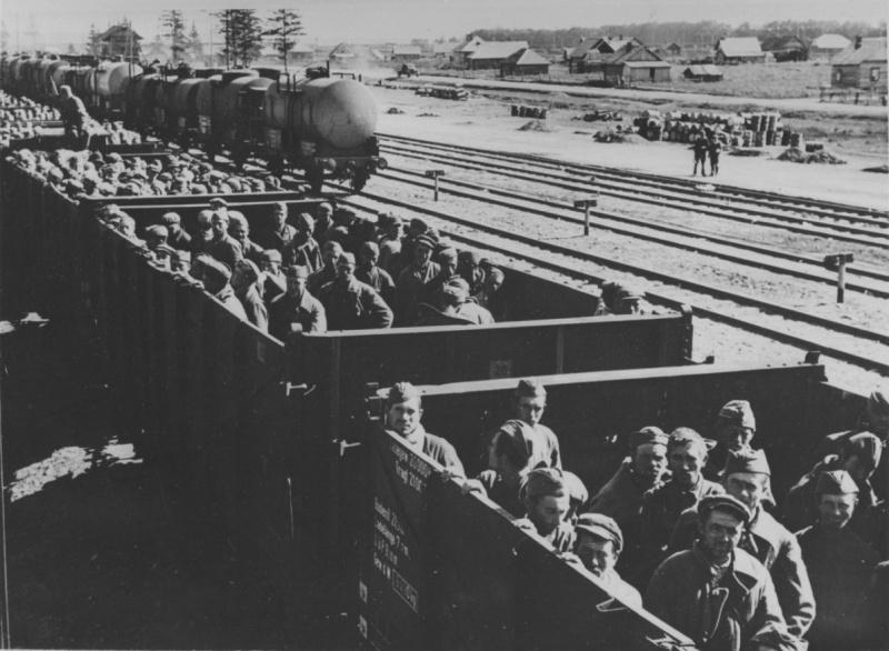 Советские военнопленные в открытых товарных вагонах на вокзале Витебска. Сентябрь 1941 г.