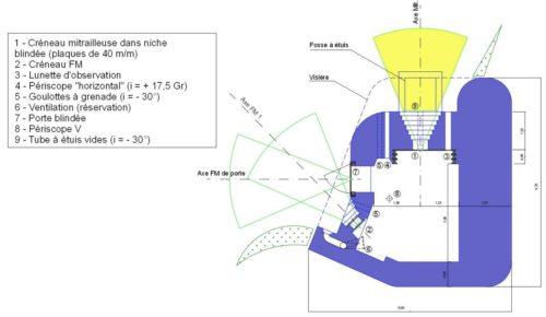 План каземата SFAM – Mit с левосторонней амбразурой.
