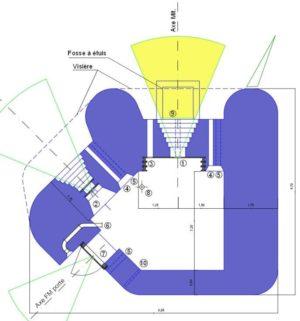 План каземата с левосторонней амбразурой и боковой дверью.
